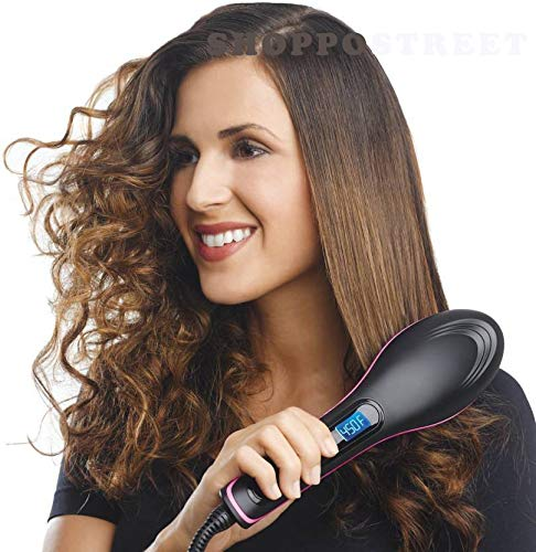 SHOPPOSTREET Ceramic Hair Straightener Brush (Black)