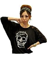 Demarkt® Femme Fashion Sweatshirt/T-Shirt/ Imprimé Tête De Mort Crâne Couleur Noir