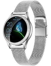 """KW20 Smart Watch, IP68 Sport Fitness Tracker Armbanduhr, Uhr Smartwatch für Frauen Damen, Zinklegierung Metal/Leder Armband, 1.04"""" Runde Farbdisplay für IOS/Android, Geschenk (Silver Metal)"""
