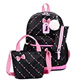 OOGUOSHENG Cute Bow Children'S Backpack Girls  School Bags For Girls School Backpack Satchel Kids Book Bag Shoulder Schoolbag Set,Black
