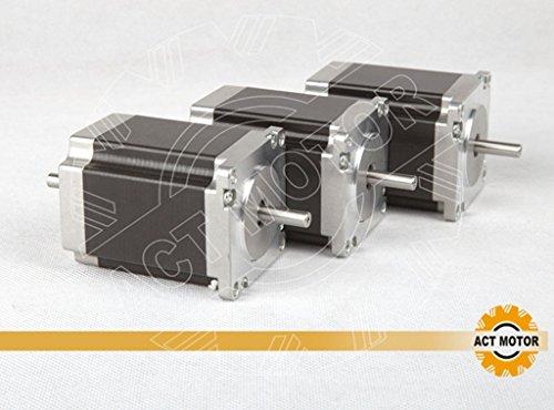 ACT Motor GmbH Nema23 3PCS 23HS8630B 76mm 3A 1.89 Nm Dual Round Shaft Ø 6.35mm Carver Machine Automation Laser Equipment 3D-Printer Scanner