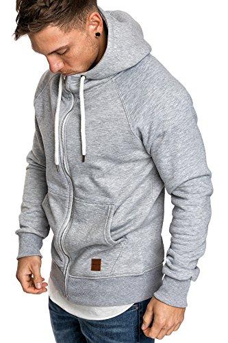 Amaci&Sons Herren Zipper Kapuzenpullover Sweatjacke Pullover Hoodie Sweatshirt 4026 Hellgrau L Zipper Hoodie Sweatshirt