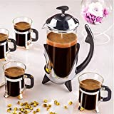 Deals Mart Tea Kettle French Press Coffee Maker Stainless Steel Filter Coffee Pot Heat Resistant Glass Cafetiere Kitchen Hand Filter Press