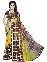 Anand Sarees Women's Faux Georgette Printed Green Color With Blouse Piece ( 1355 )