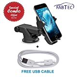 #5: FABTEC Premium Adjustable Twist Smart Telescopic Universal Mobile Stand Premium Mobile Phone Car Mount Holder With Free Micro USB Cable, 360° Rotable Holder With Free Micro USB Cable For Ford Aspire