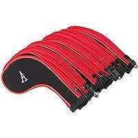 TRIXES Paquete de 10 Fundas Palos de Golf con Cremallera Negro y Rojo Rotulados