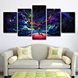 SUNSUNNY Canvas Prints, Wall Art Prints on Canvas Starry Sky Printing Picture Picture Modern Split 5 Pieces HD Artwork for Living Room Bedroom Home Office Decorations (Frameless),S