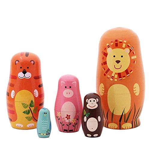 Veewon Nesting Puppen Handgefertigte hölzerne niedliche Cartoon Tiere Muster Matryoshka Tier Puppe Russische Puppen Kinder Geschenke Spielzeug 6