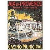FRANCIA VINTAGE POSTER CARTEL PUB RETRO 50x70cm Aix en Provence Municipal Spa Casino