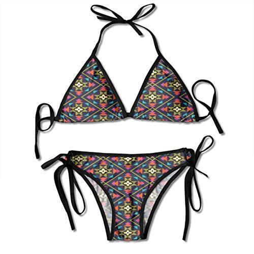 MIOMIOK Adjustable Bikini Set Halter Ladies Swimming Costume, Vivid Color Scheme Symbols from Aztec Culture Sun Concept Ethnic Inspirations,Halter Beach Bathing Swimwear (Aztec Sun-bikini)