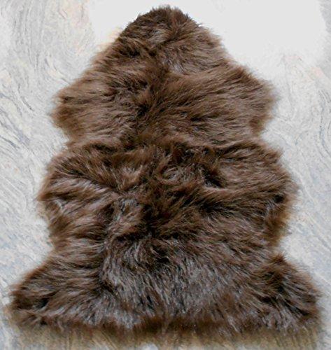 Natur-Fell-Shop–Alfombra (piel de oveja sintética Piel Sintética cama Alfombra oveja cordero (aprox. 60x 90cm, poliéster, marrón chocolate, 60 x 90 cm