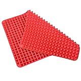 ubest Backmatte aus Silikon, 41x29x1 CM, Hitzebeständige Pyramid Grillmatte Teigmatte Unterlage, Rot