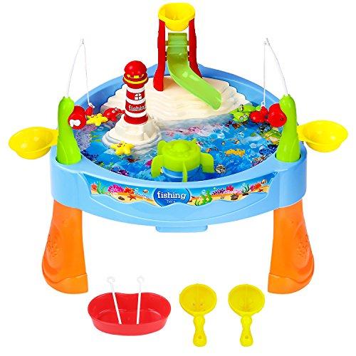 Zooawa Kit de Juguete de Pesca,Fishing Game Set, [25 Pcs] Caña Eléctrica Magnético de Pescar con Carrete con Música y Luz para Niños Niñas Mayores Que 3 Años a Jugar con Agua, Coloridos