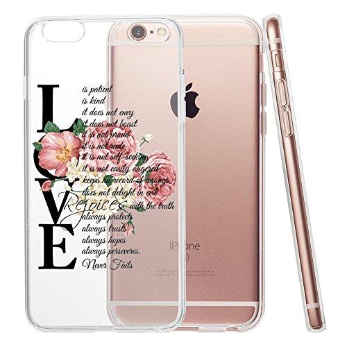 iPhone 6Plus/6S Plus 5,5Schutzhülle, Christian Zitat Liebe ist geduldig ist Art Transparent Soft TPU Stoßfest Schutzhülle