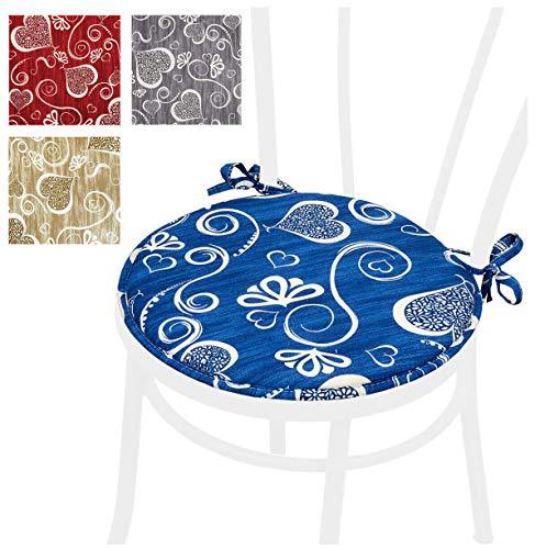 Arrediamoinsieme-nelweb cuscino coprisedia cuori stilizzati tondo con laccetti diametro 40cm imbottiti con spugna tessuto cotone 100% made in italy mod.dalia14e blu