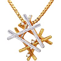 MESE London Rami Due Toanlità Collana Placcata Oro 18K Catenina Ciondolo - Elegante Confezione Regalo