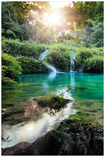 Wallario Acrylglasbild Türkisgrüner See im Nationalpark in Guatemala - 60 x 90 cm in Premium-Qualität: Brillante Farben, freischwebende Optik