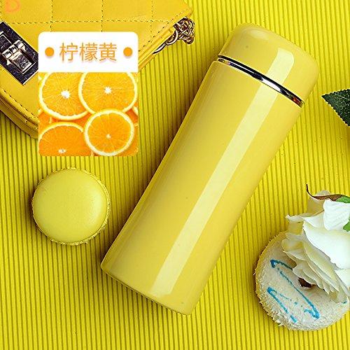 Edelstahl Kleinkind-cup (Znzbzt isoliert Cup Girl carrying Creative Cup Stainless Steel Outdoor isoliert Tasse Zitrone gelb 260ml 12M + Kleinkind Auslauf)