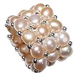 Ring Perle Lachsfarben dreireihig Süßwasser Perle Natur One Size auf strapazierfähigem Gummi aufgezogen.(4665)
