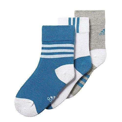 adidas Kinder Sport Socken Strümpfe Little Kids Ankle Socks 3Paar grau weiß blau, Größe:23-26 (Adidas Socken Kinder)