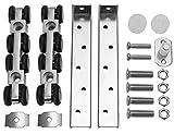 Schiebetür Beschlag für 25mm Laufprofil Laufrollen Holztür Schiebetürbeschlag 4 oder 8 Rollen Laufrollen (Modell: 8 Rollen)