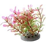 TOOGOO (R) Planta Plastico Decoracion para Acuario Pecera Color Rosa Verde 10cm