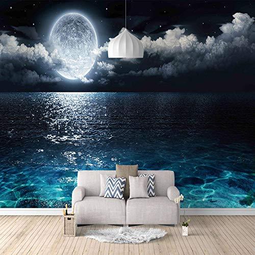 Fotomurales 3D tejido-no tejido Mar azul luna Papel Pintado Fotomural Decoración de Paredes Moderna para Dormitorio Salón 140CMx100CM