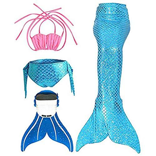 LianMengMVP 4 STÜCKE Mädchen Kinder Meerjungfrauenschwanz Zum Schwimmen mit Meerjungfrau Flosse Bikini Badeanzug Kleidung Sets