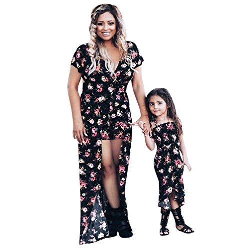 Bekleidung Kleid AMUSTER Damen Mädchen Kleid Mutter und Tochter Kleider Blumendruck Sommerkleid Familie Kleidung Boho Strandkleid Maxi Kleid (S, Mutter)