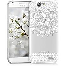 kwmobile Elegante y ligera funda Crystal Case Diseño art deco para Huawei Ascend G7 en blanco transparente
