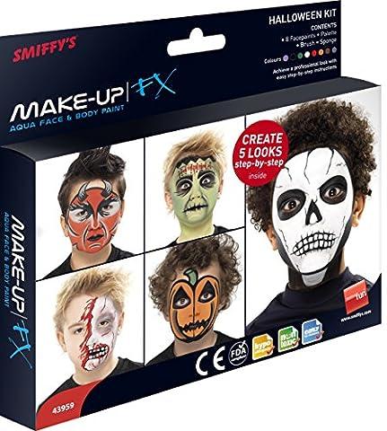 Smiffys, Unisex Halloween Aqua Gesichts- und Körper Make-Up Set, 8 Farben, Schwamm und Pinsel, 43959