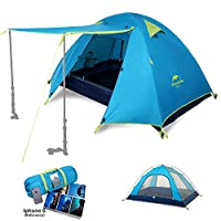 Topnaca Naturehike 1 2 3 4 Man Backpacking Camping Dome Tent, 3 Season Lightweight Waterproof Awning Two Doors Double Layer with Aluminum Rods for Outdoor Family Beach Hunting Hiking Travel 9