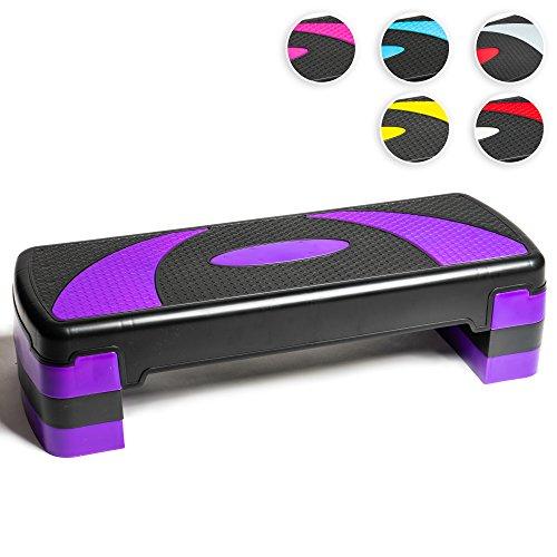 Step aeróbico 78cm ajustable en 3 alturas (10/15/20cm), Plataforma de ejercicio fitness step para su gimnasio en casa y entrenamiento físico, Stepper aerobic; 78 x 28 cm (Púrpura y Negro)