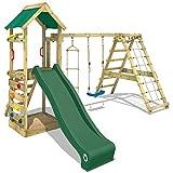 WICKEY Aire de jeux StarFlyer Portique de jeux en bois Tour d'escalade, toboggan vert + bâche verte