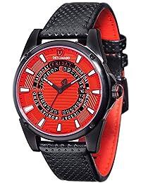 Hombre-reloj Punk Detomaso visitas Negro/rojo analógico de cuarzo de cuero DT-YG105-C