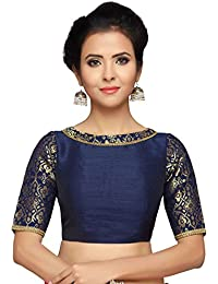 d7af4525cf00bf STUDIO SHRINGAAR WOMEN S BROCADE AND SILK READYMADE SAREE BLOUSE WITH BOAT  NECK AND ELBOW LENGTH SLEEVES