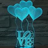 SmartEra® 3D Optical Illusion 4 Love Forme e lettere AMORE illuminazione notturna colore del cambiamento 7 Pulsante USB tocco scrittorio LED lampada da tavolo luce
