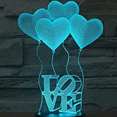 Idea Regalo - SmartEra® 3D Optical Illusion 4 Love Forme e lettere AMORE illuminazione notturna colore del cambiamento 7 Pulsante USB tocco scrittorio LED lampada da tavolo luce