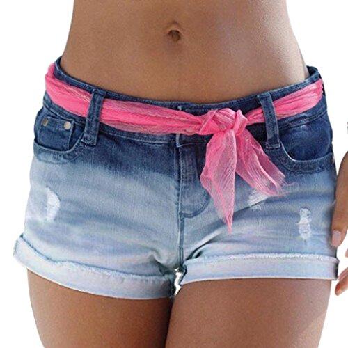 Ba Zha HEI Damen Funktions-Sport Hot Pants Hipster: als Sport Shorts, Bequeme Hotpants Active Workout Athletic Running Wasser Waschen Gradient Jeans-Shorts (S, Blau) (Hipster-jean Waschen)