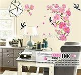 Sygrand (TM df5089Chinesischer Stil Wand Aufkleber DIY Wandbild Aufkleber Wohnzimmer TV/Sofa Hintergrund Blumen Bäume und die Magpies