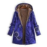SANFASHION Plus Größe Damen Mit Kapuze Langarm Baumwolle Leinen Flauschigen Pelz Reißverschluss Outwear Mäntel (ABlau, XL)