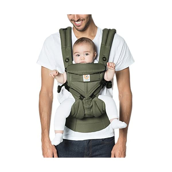 Ergobaby Baby Carrier for Newborn up to 3 Years, 360 Cool Air Khaki Green, 4 Ergonomic Carry Positions Front Back Front Facing, Backpack Carrier Ergobaby Ergonomic baby carrier for the summer, with 4 ergonomic carry positions: front-inward, back, hip, and front-outward. The carrier is suitable for babies and toddlers weighing 3.2 to 20 kg (7-45 lbs), and can be used as a backpack carrier. No infant insert needed NEW - The waistbelt with lumbar support can be worn a little higher or lower to support the lower back and provide optimal comfort, and has adjustable padded shoulder straps. The carrier is suitable for men and women. Maximum baby comfort - Breathable 3D air mesh material provides an optimal temperature for your baby on warm days. The structured bucket seat supports the correct frog-leg position for the baby. The carrier also has a neck support and privacy hood with 50+ UV sun protection. 1