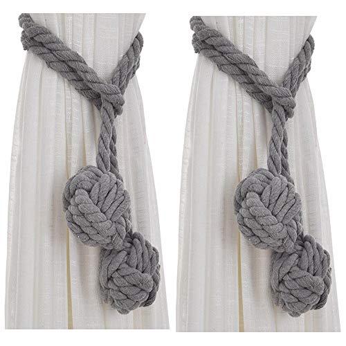 Xinlie Vorhang Raffhalter Vorhang Halter Weiß, Baumwolle Seil Raffhalter(Grau)