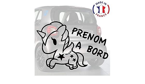 Anakiss Sticker b/éb/é /à bord pour voiture PRENOM Personnalis/é Licorne 20 cm Noir