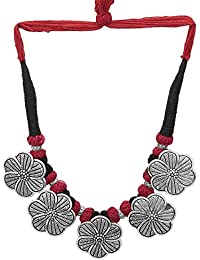 DUDI'S GERMAN SILVER OXIDIZED NECKLACE IN BLACK AND RED THREAD (SILVER PLATED)