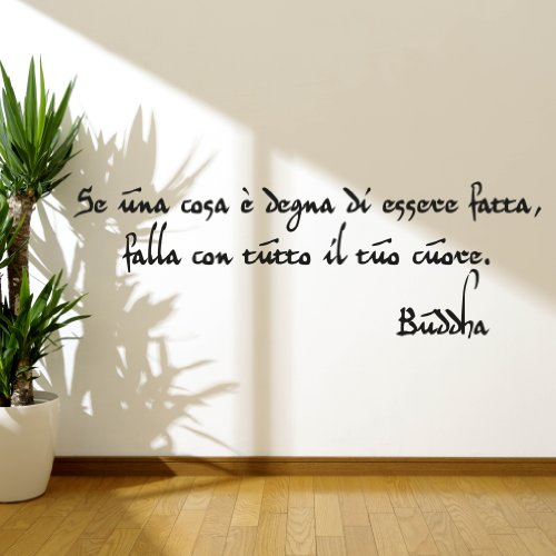 Adesiviamo Buddha Se Una Cosa E Degna M Adesivo Murale, PVC, Nero, 120 x 37 cm