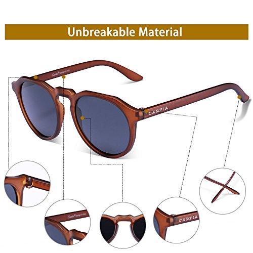 Carfia Retro Sonnenbrille UV 400 Schutz Polarisierte Sonnenbrille für Damen und Herren Fahren Angeln Golf Party, TR90 Ultraleicht Rahmen