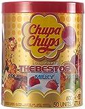 Chupa Chups Best of Lutscherdose, 50 Lutscher in der 600 g Aufbewahrungsdose, 7 farbenfrohe Geschmacksrichtungen