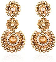 I Jewels Traditional Gold Plated Stone Earrings for Women E2099LW (LCT/Gold)