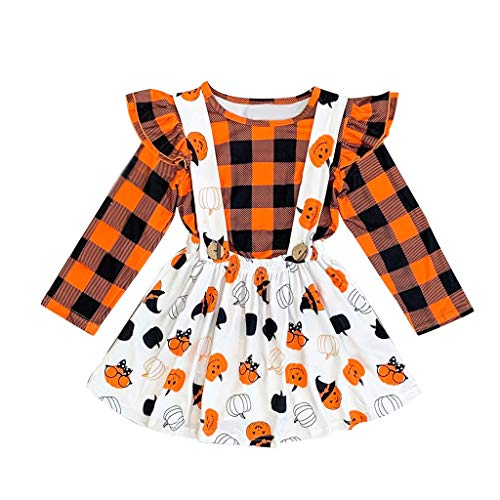 Halloween Nettes Kostüm Ein - Sllowwa Kleinkind Newborn Kinder Baby Jungen Mädchen Halloween Cosplay Tanz Rave Nette Weiche Kostüm Halloween Kürbis Plaid Tops Overall Rock Kleid Set(Orange,90)